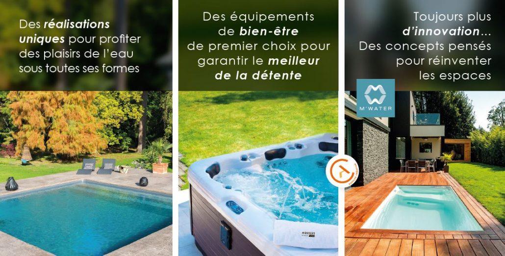 triptyque univers piscine, spa, M'Water - Aquilus