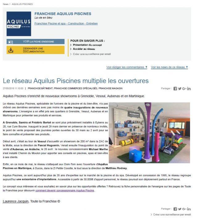 2018_05_27_Le réseau Aquilus Piscines multiplie les ouvertures_toutelafranchise