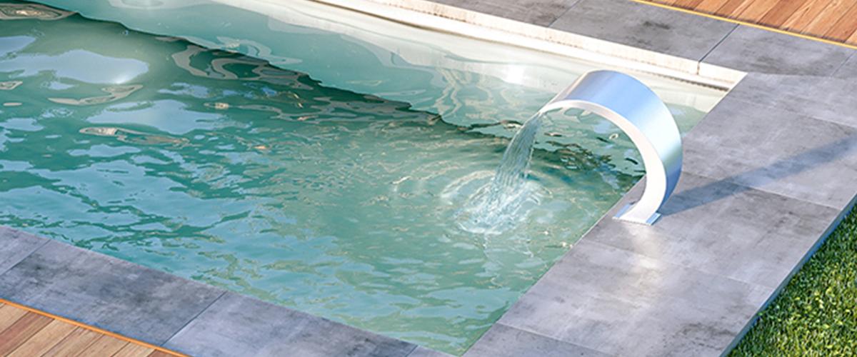 Zoom sur la fontaine en Inox