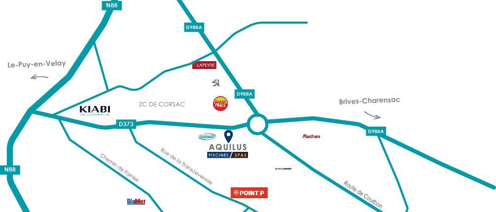 Carte d'Aquilus Brive Charensac en Haute Loire