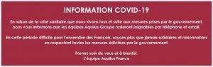 Informations Aquilus Épidémie COVID-19