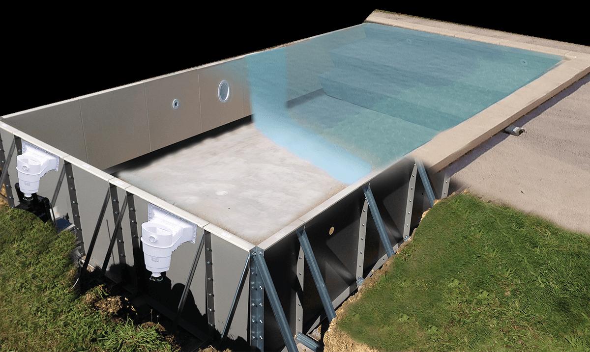 structure en acier des piscines Aquilus